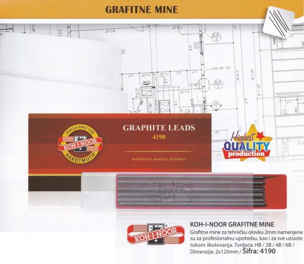 KOH-i-NOOR mine grafitne 2mm 4190 6B-29509